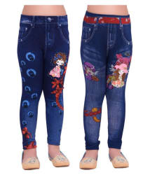 Ziva Fashion Girls Blue Printed Jegging Pants (Pack of 2)