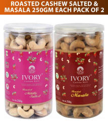 Ivory Roasted Cashew nut (Kaju) Salted and Masala 250 gm each (Pack of 2)