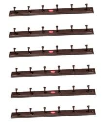 Glossy Brown Door/Wall Hook Set of 6