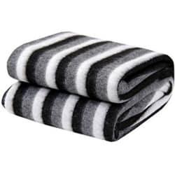 Black and White Stripe Double Bed Ac Fleece Blanket by vivek homesaaz