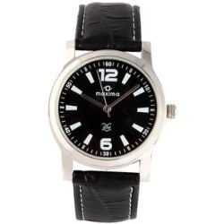 Maxima Round Black Leather Analog Automatic Casual Watch For Men