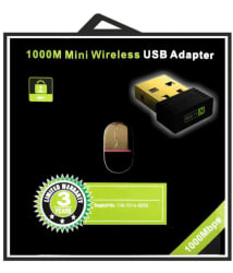 Wifi Dongle 802.11n 1000Mbps Speed Wi Fi 2.4GHz Small Wireless LAN Network Card External USB Adapter (Black)