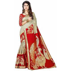 Indian Beauty Women s Multicolor Khadi Printed Saree With Blouse