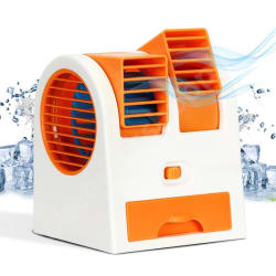 GadgetMore Mini Fan & Portable Dual Bladeless Small Air Conditioner Water Air Cooler Powered by USB & Battery (Assorted Colors)