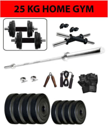 WOLPHY 25 KG HOME GYM SET WITH 3 FEET STRAIGHT ROD, DUMBBELL Rods, Hand Grip, Gloves & Skipping Rope