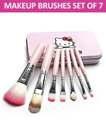 Makeup Fever Hello Kitty Professional Makeup Brushes Synthetic Set of 7