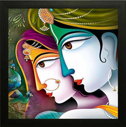 SAF Radha Krishna Religious Painting (Synthetic, 14 inch x 14 inch)