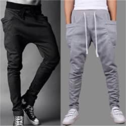 Stylogue Grey Black Poly Cotton Track Pants For Men - Pack Of 2