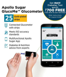 Apollo Sugar Glucome Smart Glucometer with 25 test strips + Hb1AC Test worth Rs.700 Free