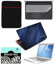 FineArts Combo of Lenovo Printed Textured Laptop Skin, Laptop Sleeve, Keypad Protector, Screen Guard and Zebronics Mouse Pad