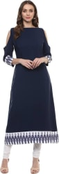 Ziyaa Casual Solid Women Kurti (Dark Blue)
