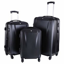 Nasher Miles Canberra Hard-Sided Set Of 3 Black Trolley Luggage Bags (55, 65 & 75 Cm)