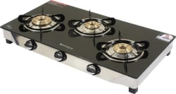 Wonderchef Ruby Glass, Stainless Steel Manual Gas Stove 3 Burners