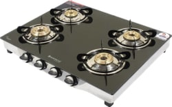 Wonderchef Ruby Glass, Stainless Steel Manual Gas Stove 4 Burners