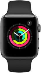 Apple Watch Series 3 GPS - 38 mm Space Grey Aluminium Case with Black Sport Band (Black Strap Regular)