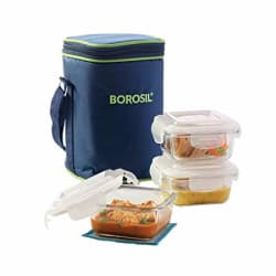 Borosil Klip N Store Microwavable Containers with Lunch Bag, 320ml, Set of 3, Clear