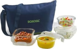 Borosil klip N store glass daisy tiffin set of 4(2pc 320ml square, 2pc 240ml round container) 4 Containers Lunch Box 320 ml