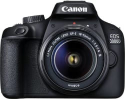 Canon EOS 3000D DSLR Camera Single Kit with 18-55 Lens (Moto Pulse Escape Bluetooth Headset, 16GB Memory Card, Carry Case) Black