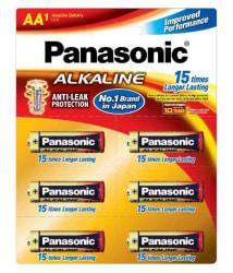 Panasonic AA Alkaline Batteries 1.5 V Non Rechargeable Battery 6