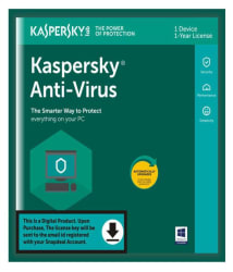 Kaspersky Antivirus 2018 ( 1 PC / 1 Year ) - Activation Code-Email Delivery