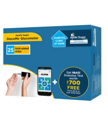 Apollo Sugar Glucome Smart Glucometer with 25 test strips + HbA1C Diabetes Test worth Rs.700 Free