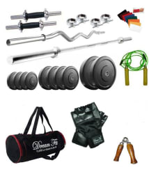 Dreamfit 40 Kg Home Gym Set with Straight and Curl Rods, Dumbbell Rods, Gloves, Hand Grip, Skipping Rope and Locks