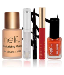 Nelf USA Makeup Kit (Foundation, Lip Gloss, Eyeliner, Sindoor & Nail Polish)- Pack of 5