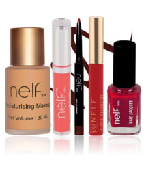 Nelf USA Makeup Kit (Foundation, Lip Gloss, Eyeliner, Sindoor, & Nail Polish)- Pack of 5