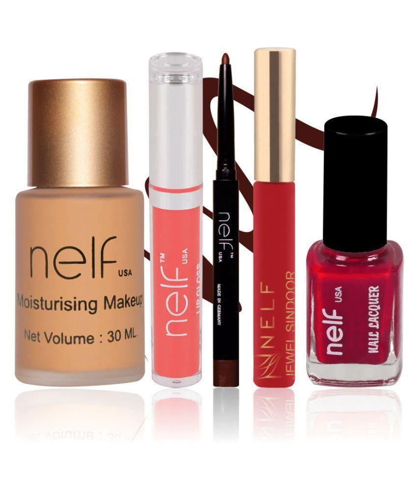 Nelf USA Makeup Kit (Foundation, Lip Gloss, Eyeliner, Sindoor