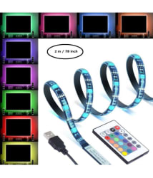 SGM LED TV Backlight Desktop Light Strip USB (2 meter/78 inch) with Remote Control Powered Multi Color RGB Tape Emotionlite Color Changed with 24keys Remote Control for 32\