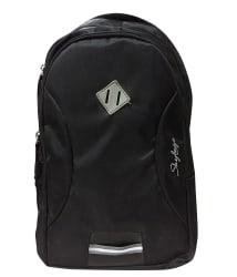Skybags Black Plack Polyester Backpack With Rain Cover