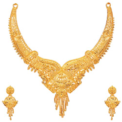 mansiyaorange Alloy Golden Traditional 22kt Gold Plated Necklaces Set