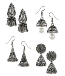 Zaveri Pearls Silver Earrings - Pair of 4