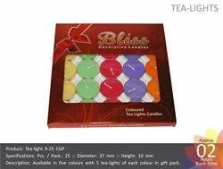 Nanki Trades Round Wax Tea Light Candle (3.5 cm x 3.5 cm, Set of 25),Multicolour
