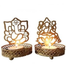 Heaven Decor Lord Ganesh & Laxmi Gold Table Top Metal Diwali Tea Light Holder for Diwali Gift Item- Pack of 2