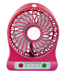 Cierie Mini USB Portable Fan with Lithium-ion Rechargeable Battery, 3 Speed (Pink - Pack of 1)