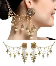 Aadita Bahubali Design Heavy Artificial Earrings With Hair Chain For Women