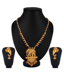 Apara Bahubali Gold Plated Elephant Necklace Artificial Jewellery Set For Women
