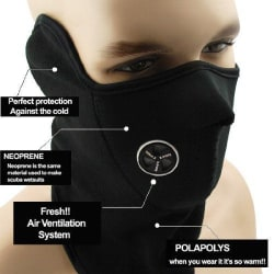 Neoprene Anti Pollution Bike Face Mask / Neck Warmer, Protects Mouth Nose- Black