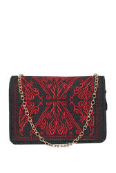 ToniQ Black & Red Embroidered Flap Sling Bag