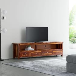 Flipkart Perfect Homes PureWood Sheesham TV Entertainment Unit (Finish Color - Natural Teak)