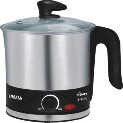 Inalsa Cookizy Electric Kettle 1.5 L, Silver, Black