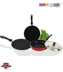 Classic Non Stick Concave Tawa, Dosa Tawa and Fry Pan 3 Piece Cookware Set