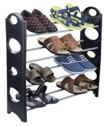 Imported-4 Layer durable multiutility Plastic Collapsible Shoe Rack-Shoe stand (Carry upto 12 Pairs)