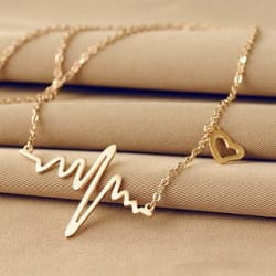Code Yellow Fashion Heart Beat Long Chain Necklace For Girls And Women