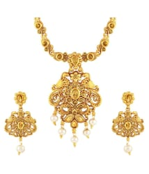 Asmitta Jewellery Zinc Golden Matinee Traditional Gold Plated Necklaces Set