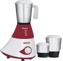 Inalsa Festiva 750 W Mixer Grinder (Maroon, White, 3 Jars)