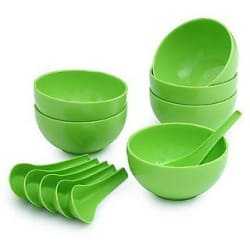 Dawn 6 Microwave Safe Plastic Soup Bowl (100ml) and 6 Soup Spoon Set-12 pcs