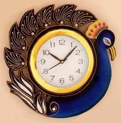 DivineCrafts Analog 30 cm X 30 cm Wall Clock Blue, Black, With Glass