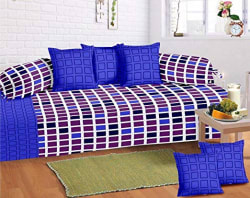 Home Elite 8 Piece 104 TC Cotton Diwan Set - Multicolour